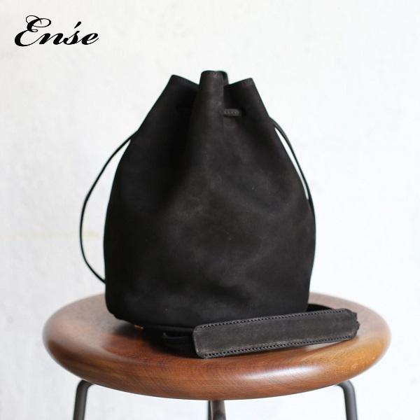 Ense(アンサ)kinchaku shoulder L blackキンチャクショルダーL ブラック 牛革 ヌバックレザー ki-302【送料無料】