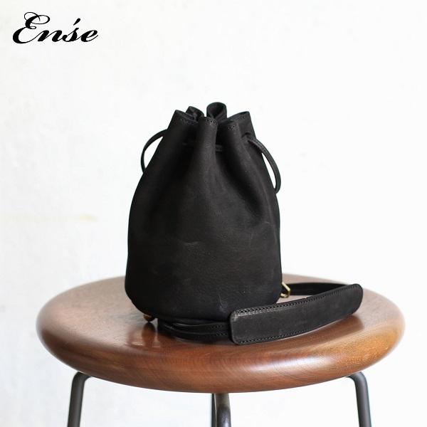 Ense(アンサ)kinchaku shoulder S blackキンチャクショルダーS ブラック 牛革 ヌバックレザー ki-302【送料無料】