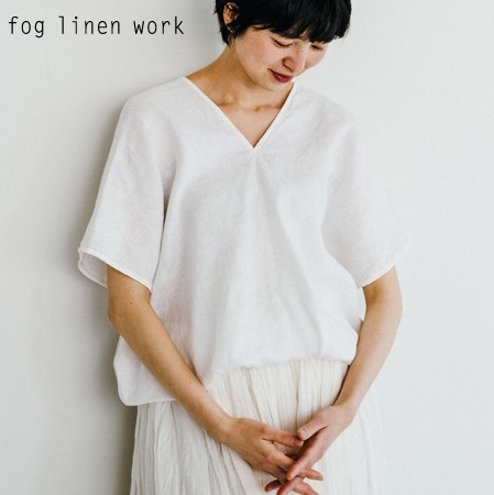 fog linen work(フォグリネンワーク)アブリル トップ ホワイト/ABRIL TOP WHITE リトアニア 薄地リネン100% LWA200-19