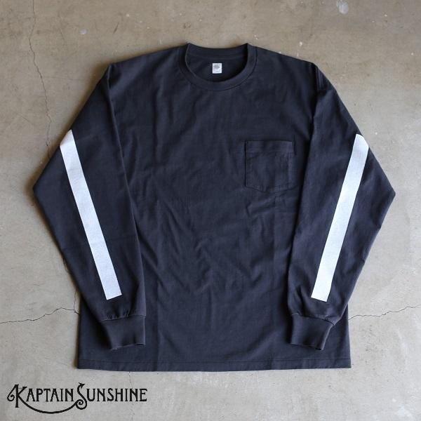 【Kaptain Sunshine】West Coast Long Sleeves T-shirt ロングスリーブポケットTシャツキャプテンサンシャイン ダークネイビーベース ホワイトライン DarkNavy/White ポケT 日本製