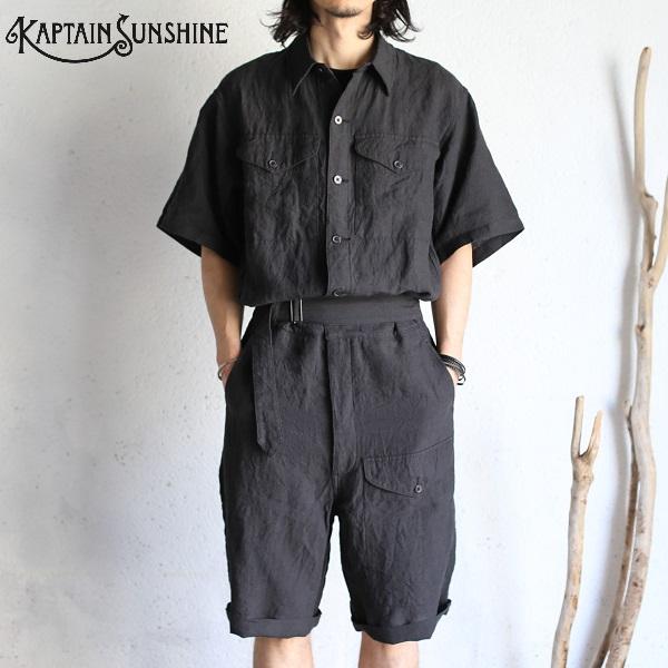 【Kaptain Sunshine】 Battle Dress Overalls BLACK バトルドレスオーバーオール ブラック リネンシルクキャプテンサンシャイン リネン・シルク 日本製【送料無料】KS20SJK06