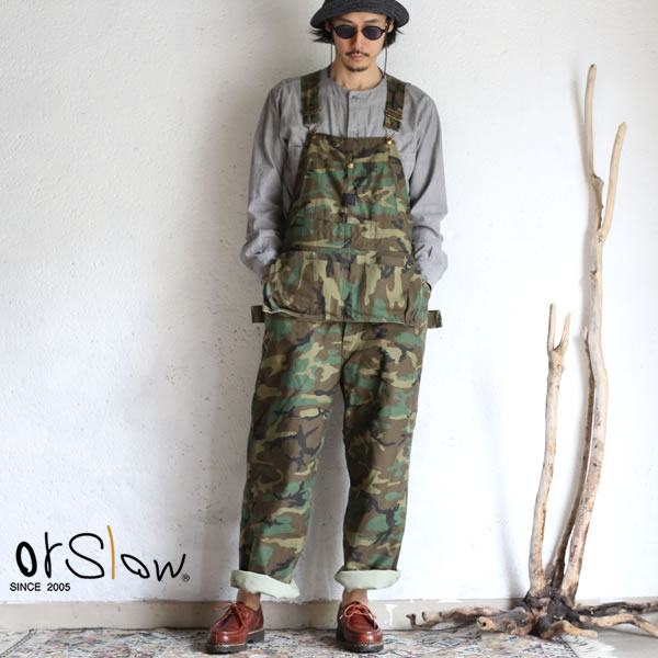 【orslow】 UNISEX KANGALOO OVERALL Woodland Camouflageオアスロウ カンガルーオーバーオール ウッドランドカモフラージュ 日本製【送料無料】