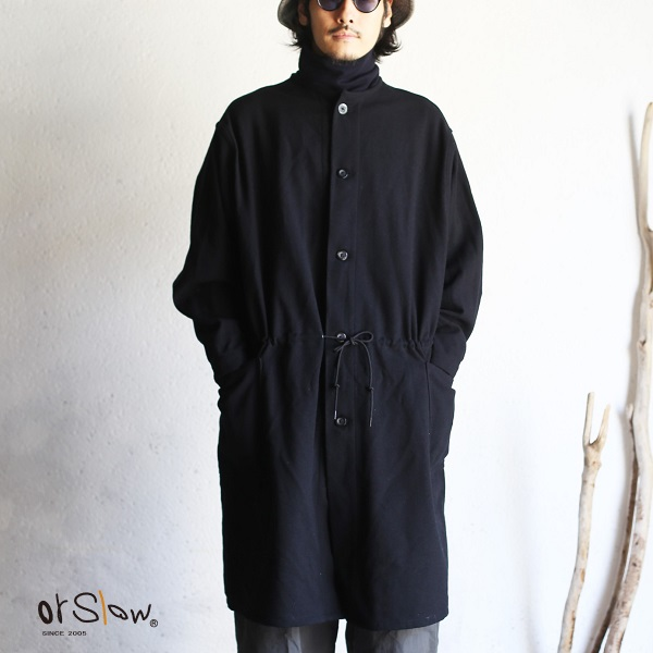 【orslow】MELTON WOOL NO COLLAR COAT (UNISEX) メルトンウール ノーカラーコート ブラック ヘリンボーンメルトンウールオアスロウ Black Herringbone wool 日本製【送料無料】