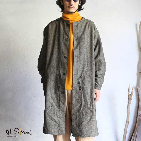 【orslow】MELTON WOOL NO COLLAR COAT (UNISEX) メルトンウール ノーカラーコート グレー ヘリンボーンメルトンウールオアスロウ Gray Herringbone wool 日本製【送料無料】