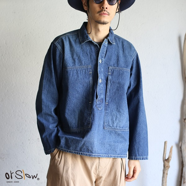 【orslow】UNISEX PW PULLOVER DENIM SHIRTS Jacket PWプルオーバー デニムジャケット シャツ オアスロウ ユニセックスユーズド加工デニムシャツ 男女兼用 日本製【送料無料】
