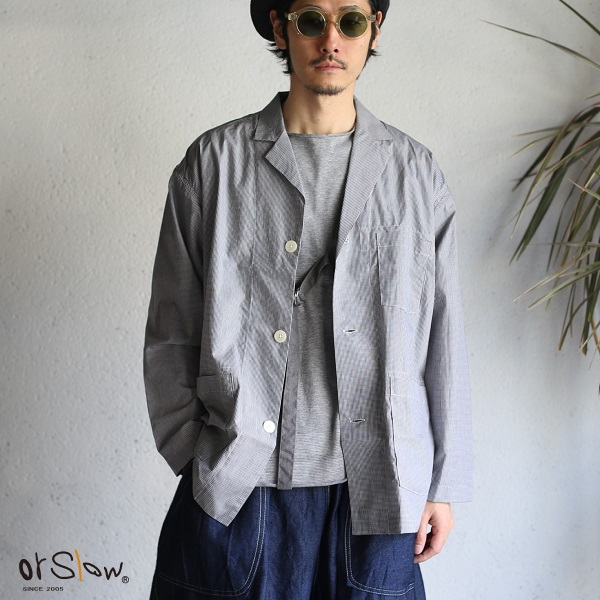 【orslow】PAJAMA JACKET Black×White Check パジャマシャツ ブラックホワイトチェックオアスロウ 日本製【送料無料】