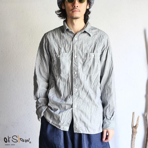 【orslow】 WORK SHIRTS Hickory Stripe Denim ワークシャツ ヒッコリーストライプ デニムオアスロウ メンズシャツ 日本製【送料無料】