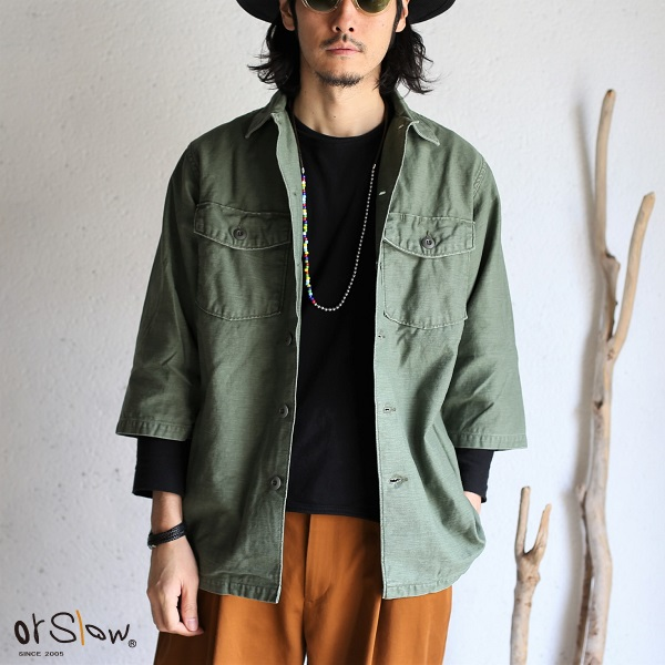 【orslow】 US ARMY 3/4 SLEEVE SHIRTS オリジナルバックサテン生地 オアスロウ ユーズド加工シャツ ユーエスアーミーシャツ 日本製【送料無料】