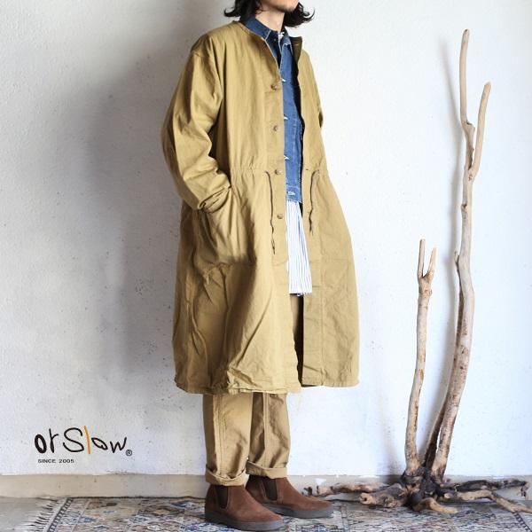 【orslow】 NO COLLAR COAT Chino Twill KHAKI ノーカラーコート チノツイル コート カーキ オアスロウ 日本製【送料無料】