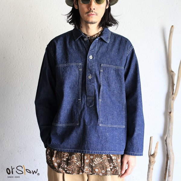 【orslow】UNISEX PW PULLOVER DENIM SHIRTS Jacket One Wash PWプルオーバー デニムジャケット シャツ オアスロウ ユニセックスワンウォッシュ加工デニムシャツ 男女兼用 日本製【送料無料】