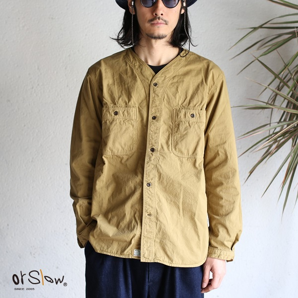 【orslow】 NO COLLAR SHIRTS KHAKI CHINO TWILL ノーカラーシャツ カーキ チノツイルオアスロウ 日本製【送料無料】