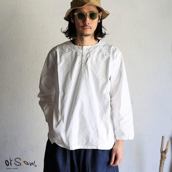 【orslow】NO COLLAR PULLOVER shirt White Chambray ノーカラープルオーバー シャツ ワンウォッシュオアスロウ ホワイトシャンブレー 日本製【送料無料】