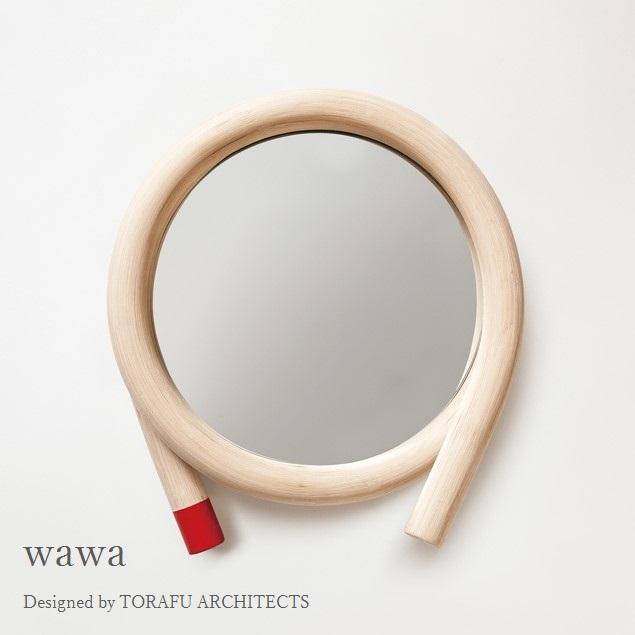 TORAFU ARCHITECTS wawa red made in japan トラフ建築設計事務所 ウォールミラー 鏡 籐製フレーム レッド グッドデザイン賞 ツルヤ商店 メトロクス 2016 GOOD DESIGN