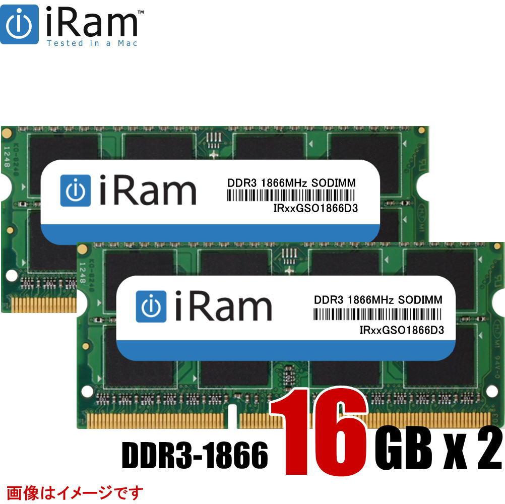 32GB(16GBx2) DDR3 1866MHz SO-DIMM iMac Late2015対応増設メモリ iRam Technology
