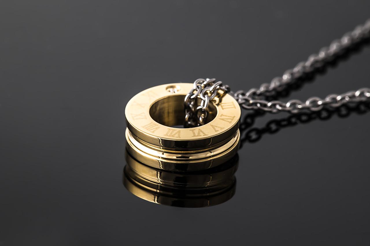 純チタン磁気ネックレス ピュアループ オズ リングタイプ ゴールド IP加工 磁気 ネックレス チタン磁気ネックレス 人気 肩こり ループ 純チタン 健康