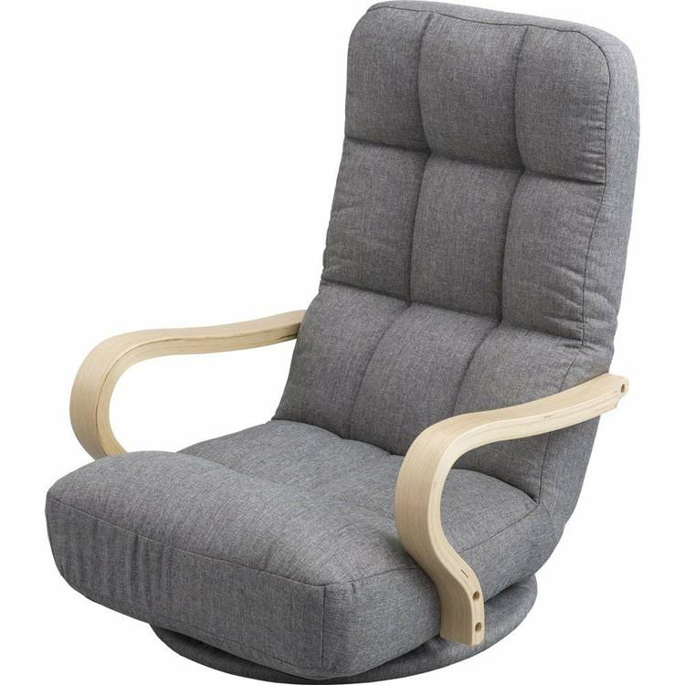 ウッドアームチェア 回転タイプ WAC-K ファブリック/グレー ブラウン コーデュロイ/ベージュ ウッドアームチェア 回転タイプ 椅子 イス リラックスチェア パーソナルチェア 1人掛けソファ アームレスト 折り畳み