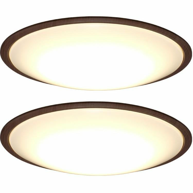 LEDシーリングライト 2個セット メタルサーキットシリーズ ウッドフレーム 12畳 調色 CL12DL-5.1WF 送料無料 薄型シーリングライト LED 高効率 取り付け簡単 LED 調光 調色 木目 ウッド ウォールナット ナチュラル IRISOHYANA