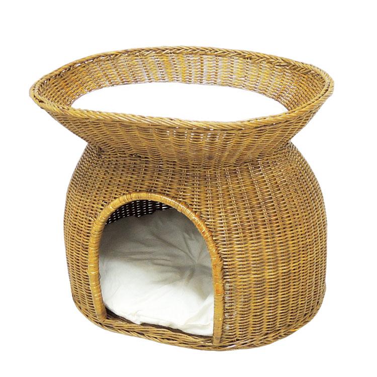 ニャンともラタンにゃん段ベッド 送料無料 猫用 キャット ネコ ペットベッド 猫ベッド 2段 手編み 動物用 ペッツルート 【TC】