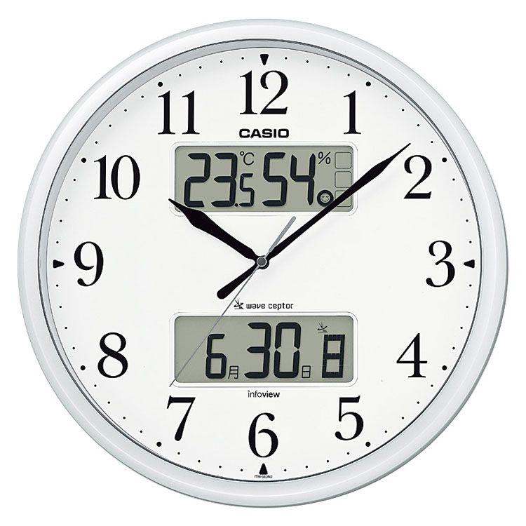 壁掛け時計 電波時計 夜光る インテリア 多機能 寝室 お買得 デジタル ギフト プレゼント 白 カシオ CASIO 宅送 D 送料無料 ITM-660NJ-8JF 自動点灯カレンダー シルバー 電波 アナログ 掛け時計 温度 B 湿度