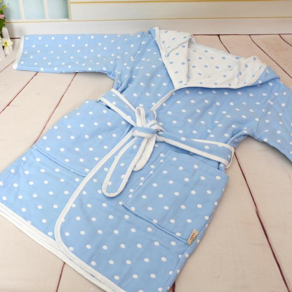 對可愛的水滴花紋紗布布料厚度小孩浴衣肌膚客氣的可愛的水滴pingu/騎藍色合適身高90cm~130cm