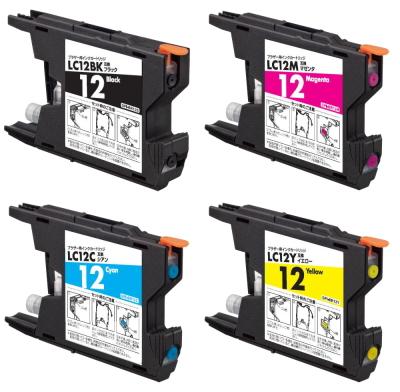 安心代替補償 ブラザー LC12-4PK 互換◆国内メーカー製 サポート付 お好み4色セット 送料無料 インクカートリッジ 互換インク