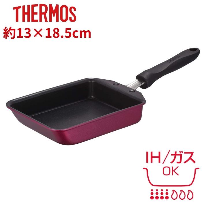 フラットな構造 玉子焼きがキレイに作れます 玉子焼き フライパン あす楽 サーモス ih 13cm KFF-013E 374514 正規逆輸入品 炒め 煮物 デュラブルシリーズ IH 低廉 揚げ物 鍋 ガスOK