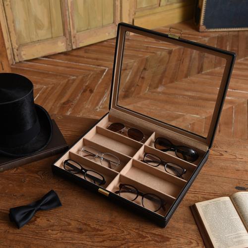 メガネケース 8本用 コレクションケース サングラスケース 収納 眼鏡 サングラス 老眼鏡 大容量 革 レザー 黒 ブラック オシャレ かっこいい メンズ 誕生日 ギフト プレゼント 父の日 敬老の日 240-452