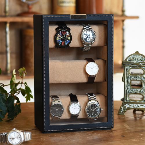 クーポン発行中 腕時計ケース ウォッチケース コレクションケース ウォッチタワー 収納 ケース スタンド 腕時計置き 腕時計 ウォッチ レザー 革 縦 スリム コンパクト オシャレ 父の日 誕生日 メンズ ギフト 240-454
