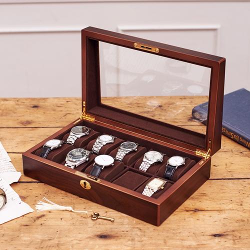 クーポン発行中 【腕時計ケース ウォッチケース コレクションケース】木製ウォッチケース(10本用)(856-121)【コレクション 収納 ケース 腕時計置き 腕時計 ウォッチ 木製 鍵 シンプル オシャレ 父の日 誕生日 メンズ ギフト】【20P03Dec16】