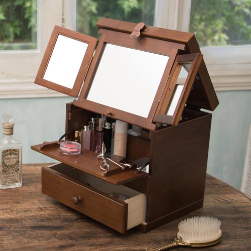 クーポン発行中 日本製 コスメティックボックス 3面鏡 大容量 木製 化粧台 木製コスメボックス ギフト プレゼント 母の日 20-108