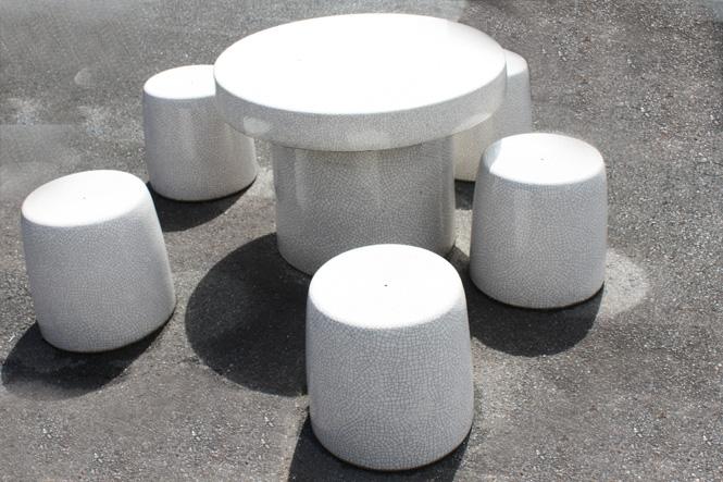 信楽焼 ガーデンテーブル 25号 志野貫入テーブルセット6点 陶器 テーブル 彩り屋