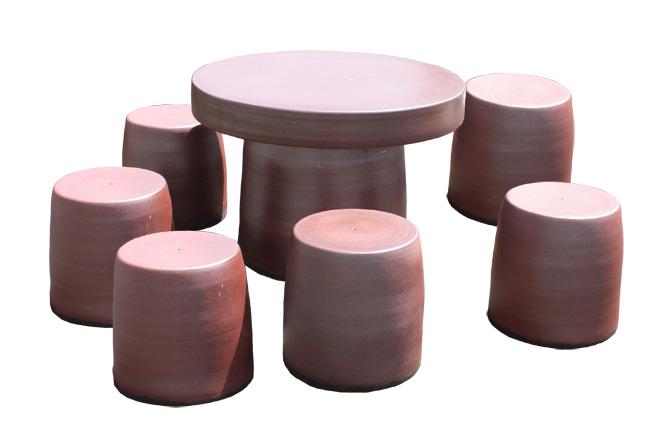 信楽焼 ガーデンテーブル 40号 鉄赤テーブルセット7点 陶器 テーブル彩り屋スーパーセール 10%OFF