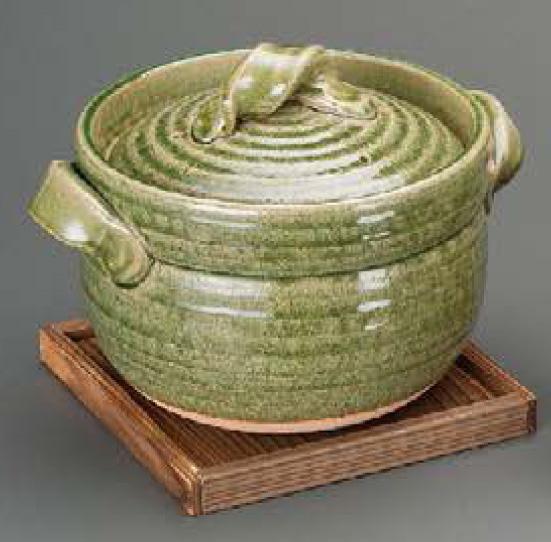 緑釉五合御飯鍋焼杉台は商品に含まれません。信楽焼 陶器 キッチン 調理器具 土鍋 ごはん鍋 料亭 旅館 和食器 飲食店 業務用 彩り屋