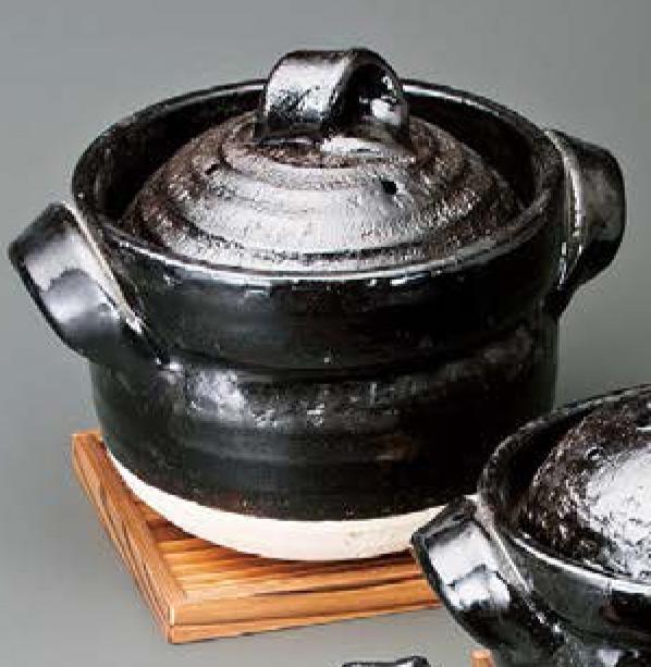 黒釉五合 御飯鍋 焼杉台セット信楽焼 陶器 キッチン 調理器具 土鍋 ごはん鍋 料亭 旅館 和食器 飲食店 業務用彩り屋