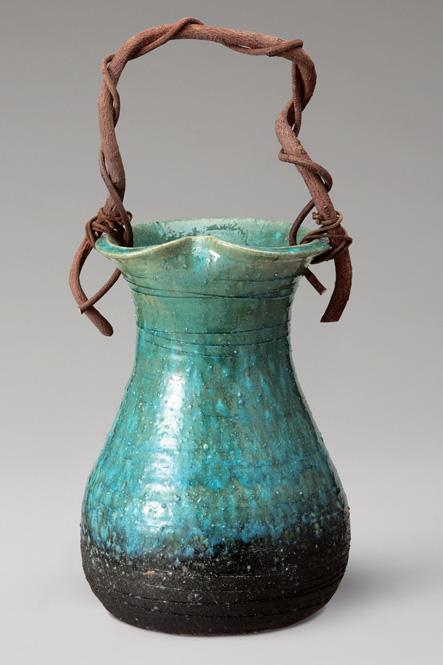 緑窯変つる付 花入 信楽焼 陶器 花入れ 花器 花入 花瓶彩り屋