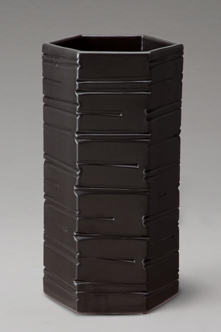 傘立て 陶器 信楽焼 ブラックヘキサゴン 傘立 スリム
