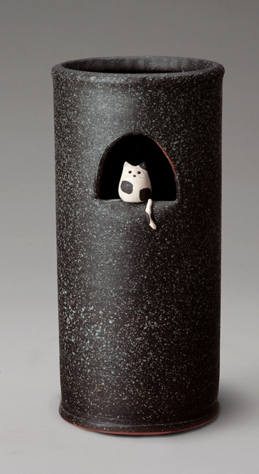 傘立て 陶器 信楽焼 小窓ねこ 傘立 スリム かわいい