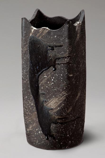 傘立て 陶器 信楽焼 黒釉ビードロ角型 傘立