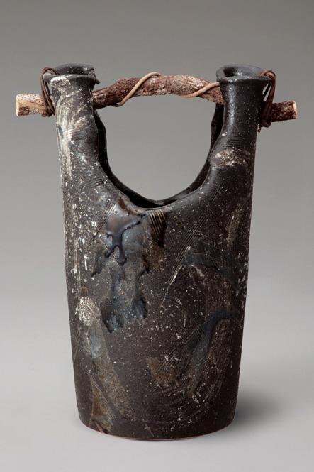 傘立て 陶器 信楽焼 黒ビードロ手桶 傘立