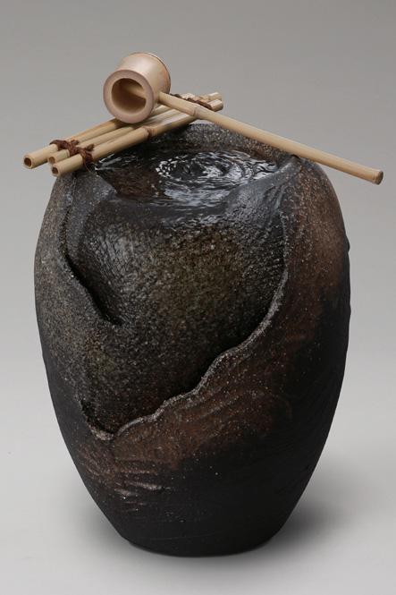 響(小)信楽焼 陶器 置物 つくばい彩り屋_
