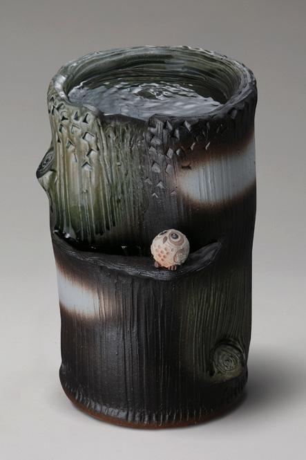 ふくろう付流水つくばい信楽焼 陶器 置物 つくばい彩り屋