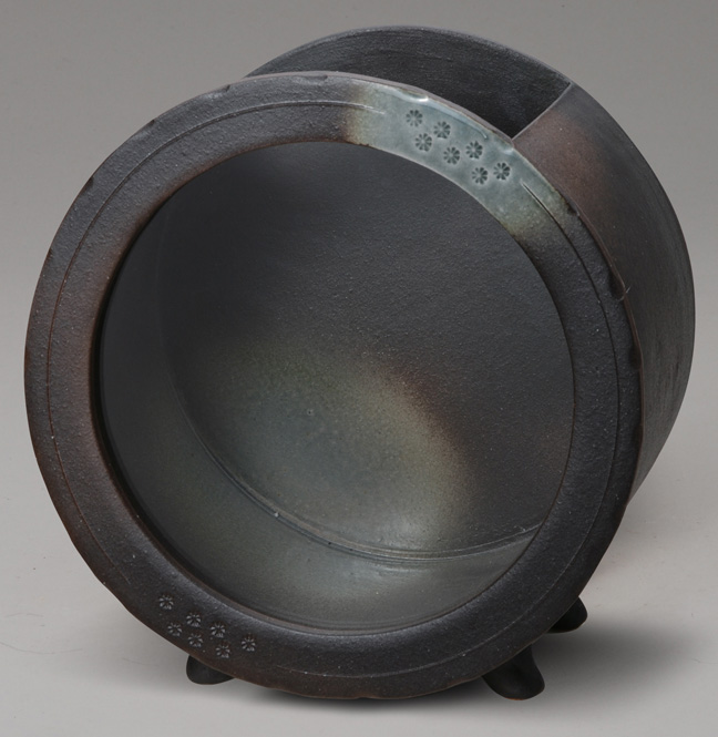 黒釉丸水槽(大)信楽焼 金魚鉢 水槽 陶器 置物 めだか鉢 水鉢 彩り屋