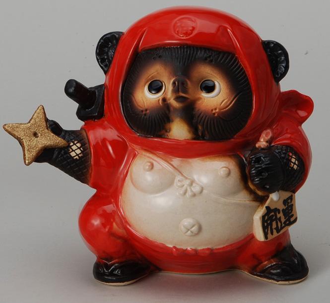 くノ一狸 (赤) 信楽焼 たぬき 陶器 狸 置物 タヌキ彩り屋