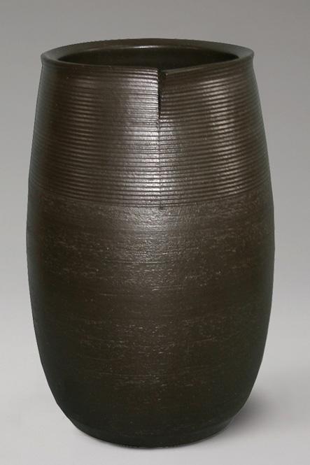 傘立て 陶器 信楽焼 黒釉 傘立