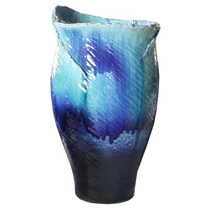 23号 ブルーガラスひねり花器 信楽焼 陶器 花入れ 花器 花入 花瓶 彩り屋_