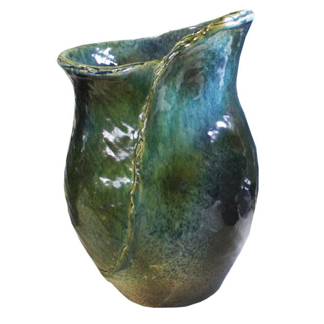 13号 青ガラスひねり花器 信楽焼 陶器 花入れ 花器 花入 花瓶 彩り屋_