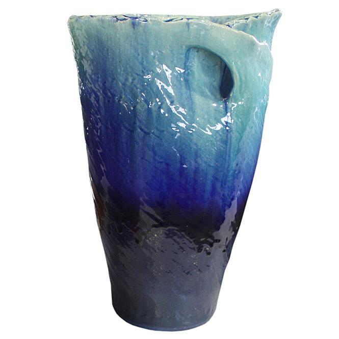 17号 ブルーガラスひねり花器 信楽焼 陶器 花入れ 花器 花入 花瓶 彩り屋_