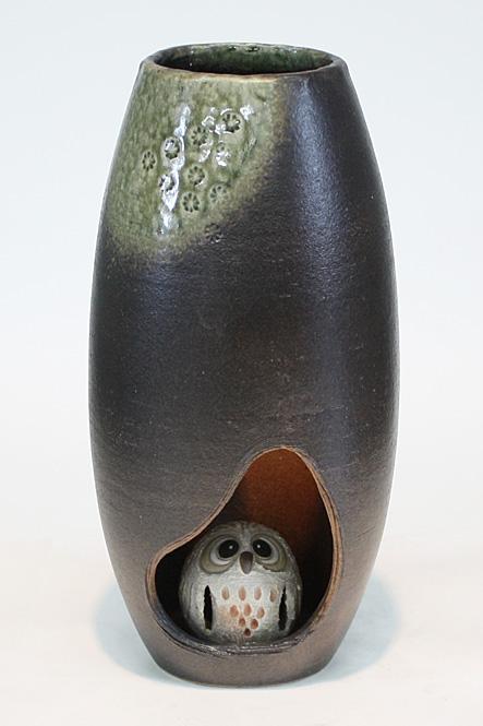 印華ふくろう灯り信楽焼 陶器 置物 照明 灯り彩り屋