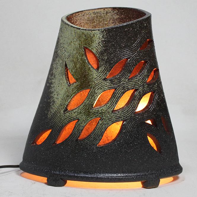 せせらぎ灯り信楽焼 陶器 置物 照明 灯り彩り屋