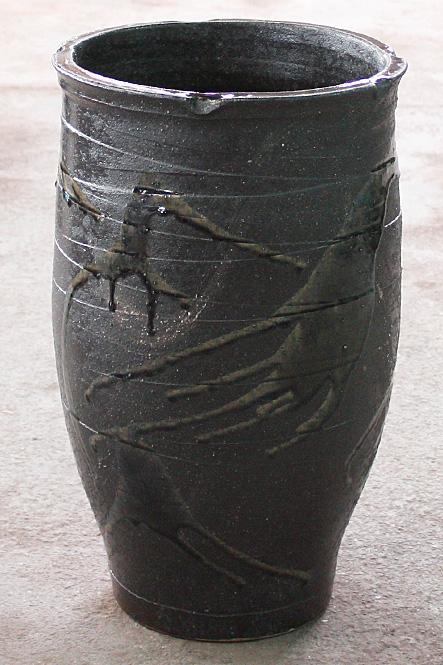 傘立て 陶器 信楽焼 黒ビードロ 傘立